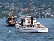 73' 1922 Menchions Shipyard ARGONAUT II and 60' 1929 Garbutt and Walsh MARDO on Lake Washington after SYC's Opening Day of Yachting Parade held each year the first weekend in May.